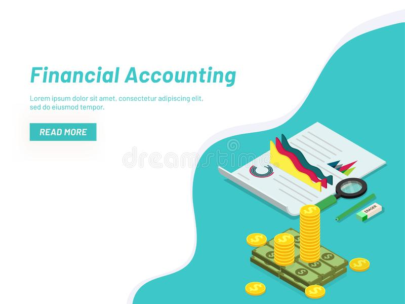 Financial Accounting concept with isometric coin stack and business report with infographic elements. Responsive web banner. Design vector illustration