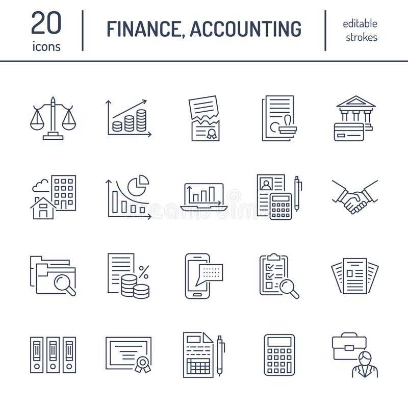 Financial accounting flat line icons. Bookkeeping tax optimization, firm dissolution, accountant outsourcing, payroll. Financial accounting flat line icons stock illustration