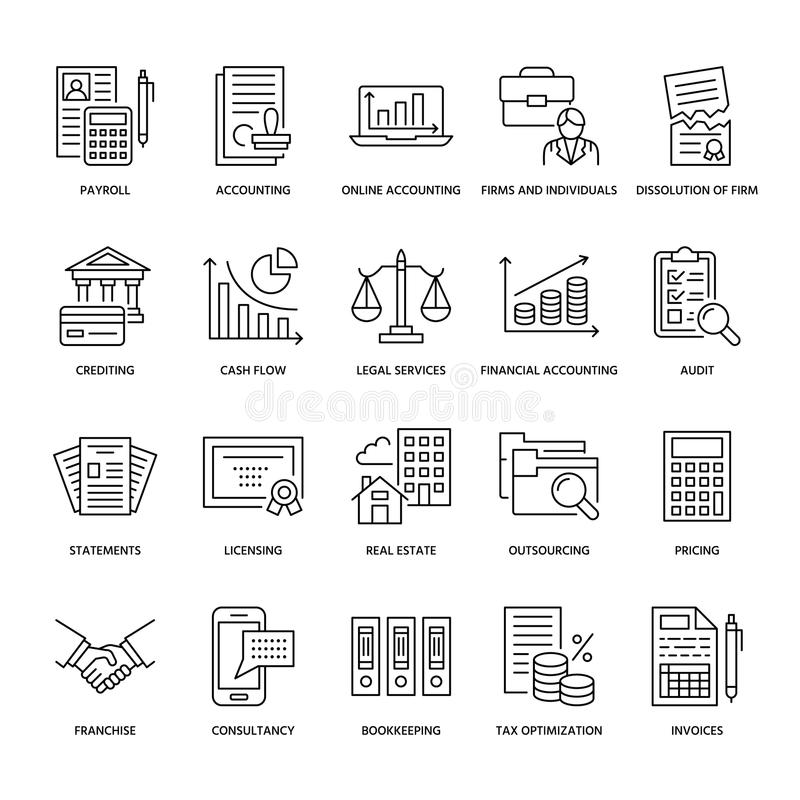Financial accounting flat line icons. Bookkeeping, tax optimization, firm dissolution, accountant outsourcing, payroll. Real estate crediting. Accountancy royalty free illustration