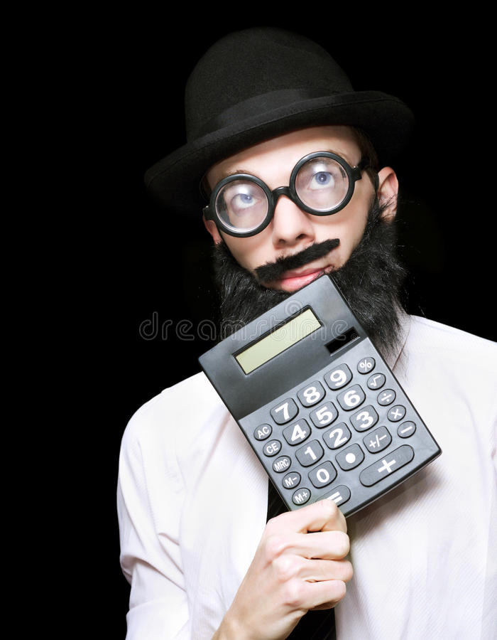 Download Financial And Accounting Genius With Calculator Stock Photo - Image of equation, concept: 26644780