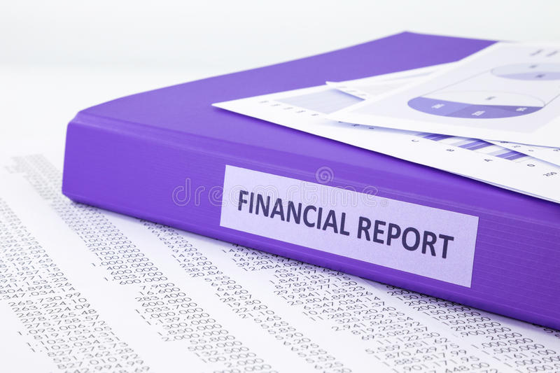 Financial accounting report with sale and purchase statement stock photography