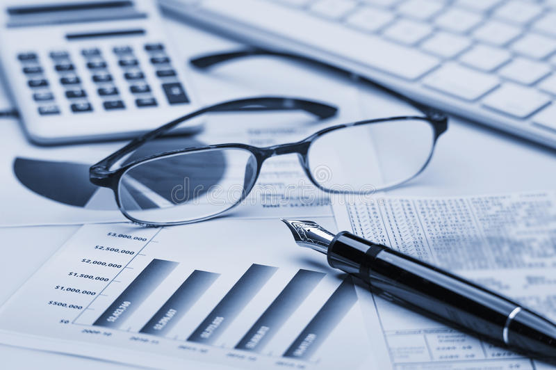 Financial accounting. Stock market graphs analysis stock photography