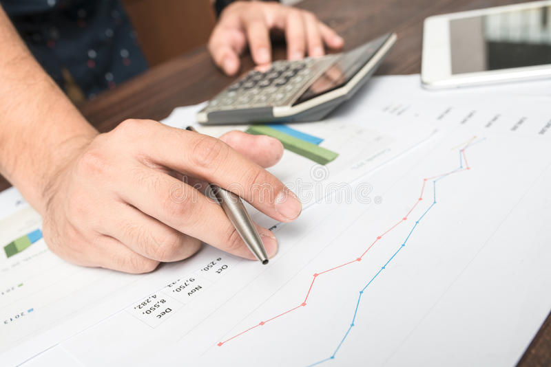 Financial accounting stock market graphs analysis stock image