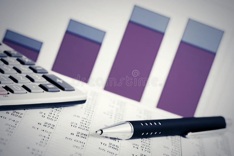 Financial accounting stock market graphs analysis royalty free stock photos
