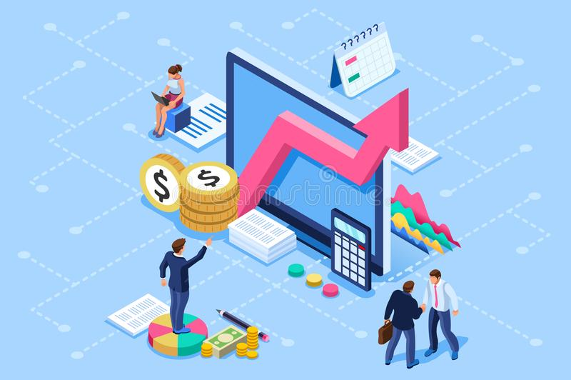 Financial Administration and Consulting Consultant Meeting Concept. Financial administration concept. Consulting, characters at consultant meeting or auditing vector illustration