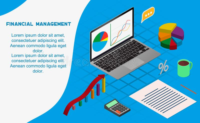 Financial administration concept. . Flat isometric vector illustration isolated on background. royalty free illustration