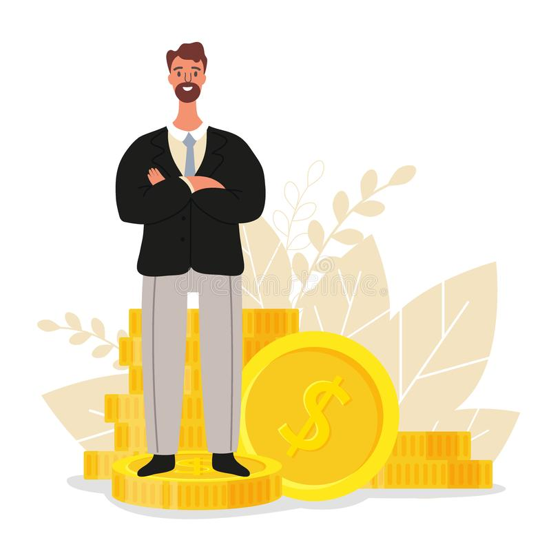 Financial advisor. Businessman is standing near coins, business finance concept, flat vector illustration.  stock illustration