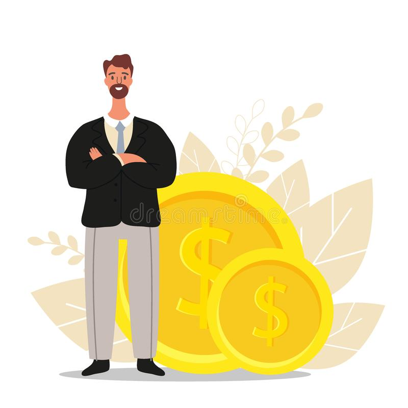 Financial advisor. Businessman is standing near coins, business finance concept, flat vector illustration.  royalty free illustration