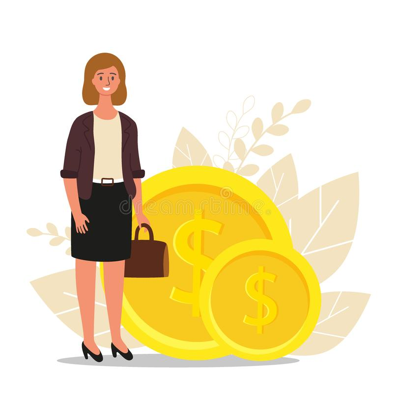Financial advisor. Businesswoman is standing near coins, business finance concept, flat vector illustration.  royalty free illustration