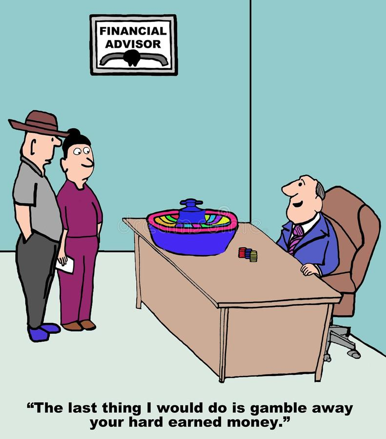 Financial Advisor. Cartoon of financial advisor with roulette wheel saying to couple, the last thing I would do is gamble away your hard earned money stock illustration