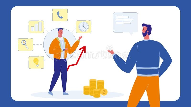 Financial Advisor, Consultant Color Illustration. Time Management Seminar, Conference. Business Analyst Vector Character. Business Metrics. SMM. Man Pointing stock illustration