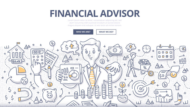 Financial Advisor Doodle Concept vector illustration
