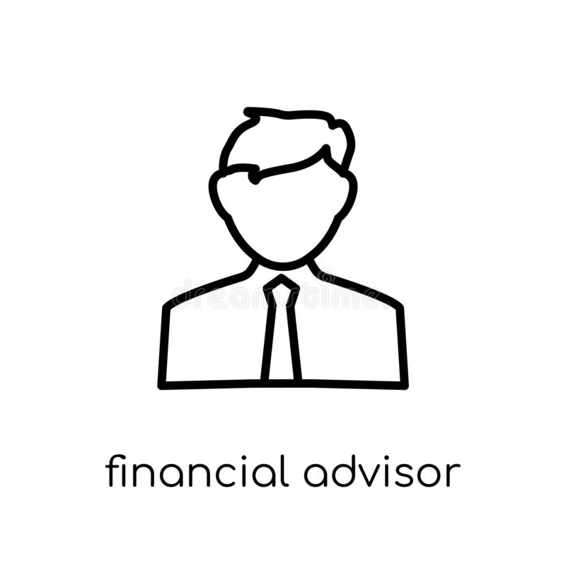 Financial Advisor icon. Trendy modern flat linear vector Financial Advisor icon on white background from thin line Professions co. Llection, editable outline royalty free illustration