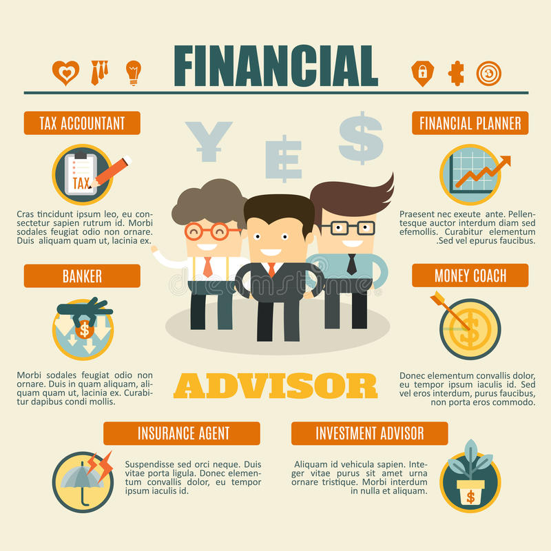 Financial advisor infographics. Tax accountant, banker, investment advisor, money coach, insurance agent, financial planner vector illustration