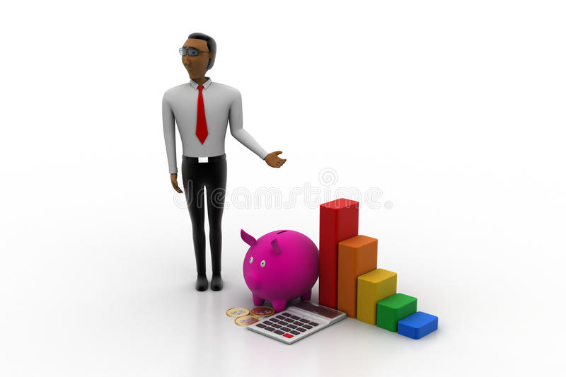 Financial advisor with investment concept. In white background stock illustration
