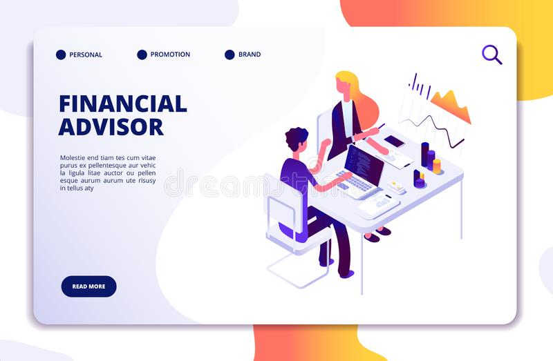 Financial advisor isometric concept. Business data analysis with professional team. Money investment management vector royalty free illustration