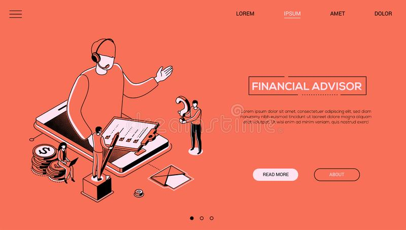 Financial advisor - line design style isometric web banner. On orange background with copy space for text. A header with a male call center operator in headset royalty free illustration