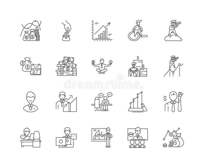 Financial advisor line icons, signs, vector set, outline illustration concept. Financial advisor line icons, linear signs, vector set, outline concept stock illustration