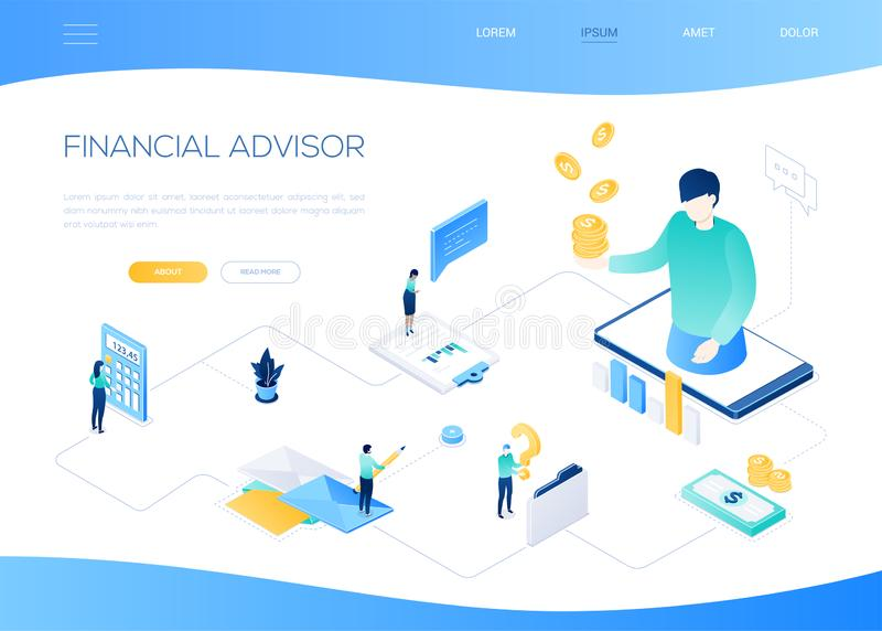 Financial advisor - modern colorful isometric web banner. With copy space for text. Quality composition with a manager holding coins on smartphone screen, male stock illustration