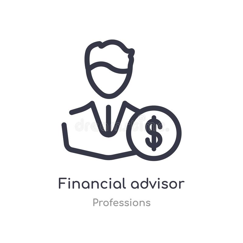 Financial advisor outline icon. isolated line vector illustration from professions collection. editable thin stroke financial. Advisor icon on white background vector illustration