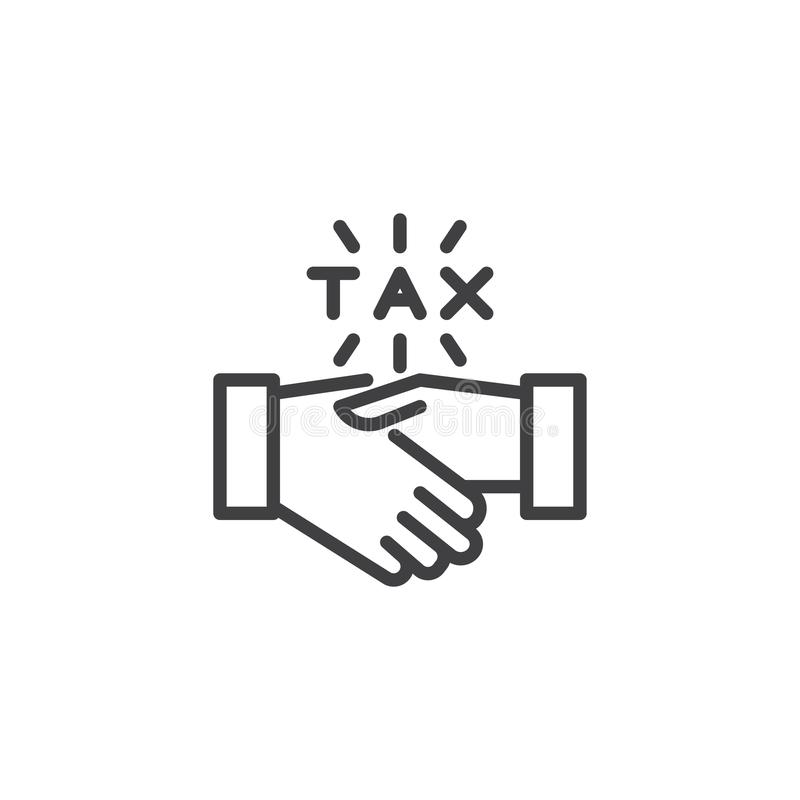 Financial agreement outline icon. Linear style sign for mobile concept and web design. Tax handshake simple line vector icon. Symbol, logo illustration. Pixel stock illustration