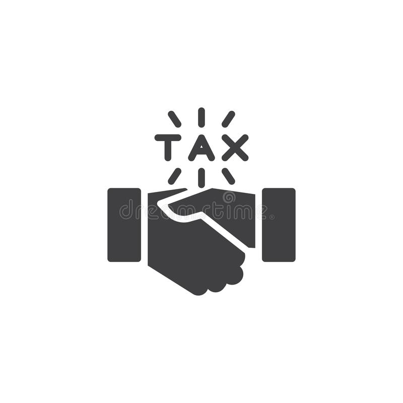 Financial agreement vector icon. Filled flat sign for mobile concept and web design. Tax handshake simple solid icon. Symbol, logo illustration. Pixel perfect vector illustration