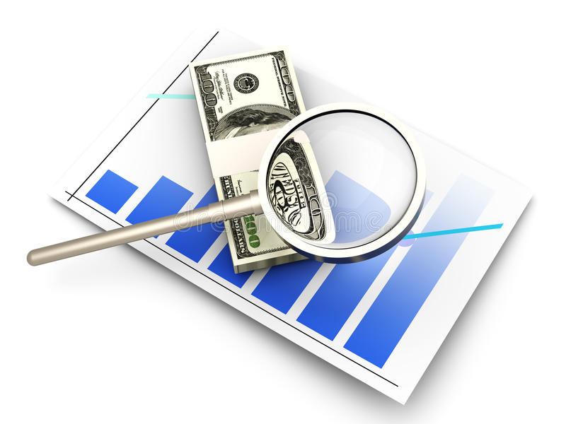 Financial analysis. Analyzing the financial situation. 3D rendered illustration vector illustration