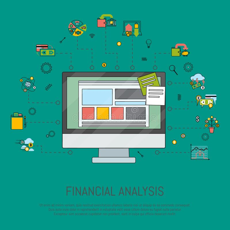 Financial analysis banner vector illustration. Risk management. Corporate finance. Corporate valuation. Fianncial stock illustration
