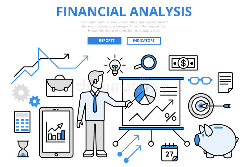 Financial analysis business report concept flat line art vector. Financial analysis business report finance graphic concept flat line art vector icons. Modern stock illustration
