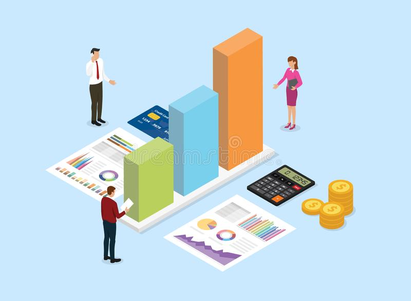Financial analysis company concept with team people analyze data from graph and chart with blue background and isometric style -. Vector illustration vector illustration