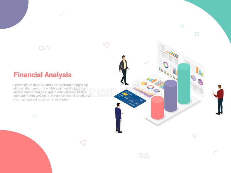 Financial analysis company concept with team people analyze data from graph and chart with blue background and isometric style for. Website template or landing royalty free illustration