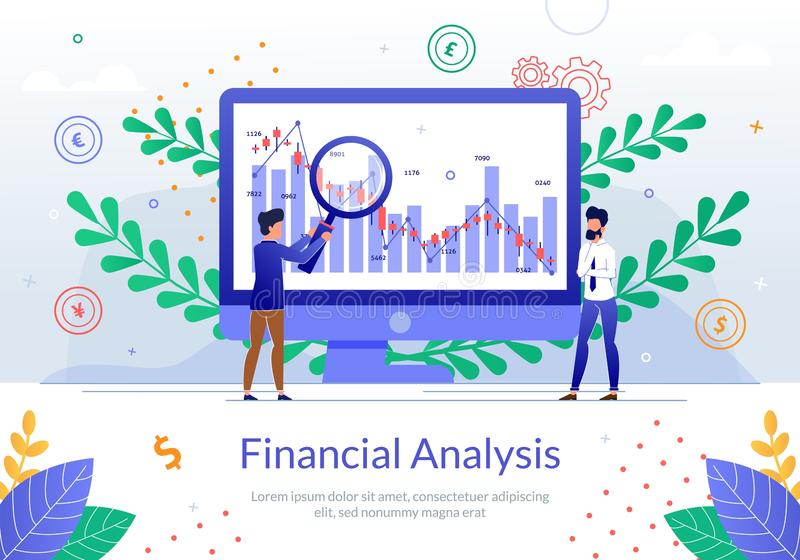 Financial Analysis of Company Growth Vector Banner. Financial Analysis Online Service Flat Vector Banner with Business Analyst Team Working Together to Calculate stock illustration