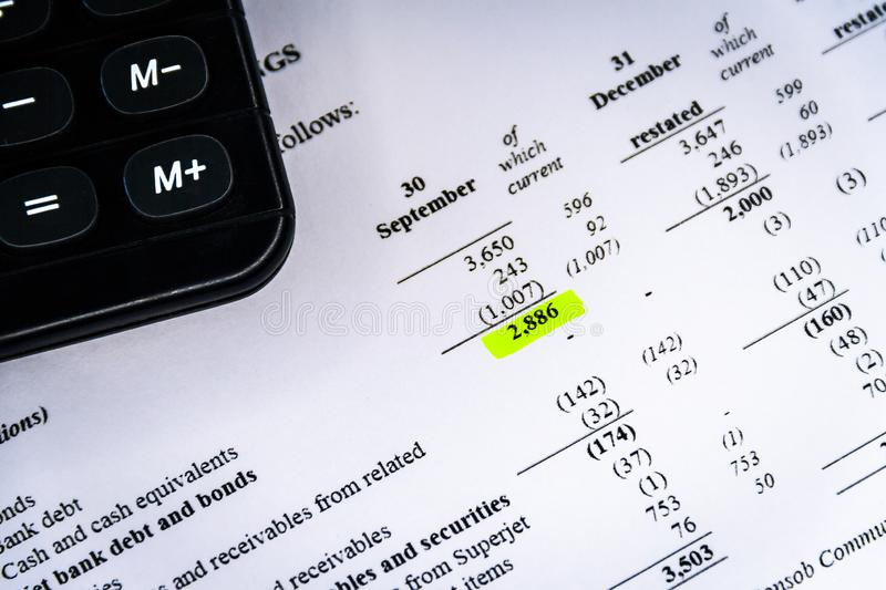 Financial analysis and income statement, business plan stock photo