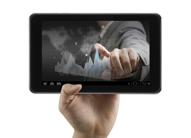 Financial analyst on digital tablet. Usinessman show financial analyst on digital tablet royalty free stock photography