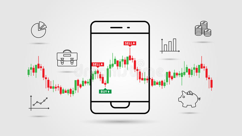 Financial analytics app vector illustration. Mobile app for investment and online trade line art concept. Buy and sell indicators on the candle bar chart royalty free illustration