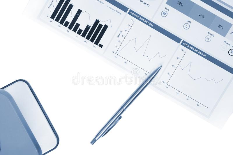 Financial analytics, business idea, charts and graphs, market statistics, graphic report, marketing background isolated. Business idea, financial concept, charts stock image