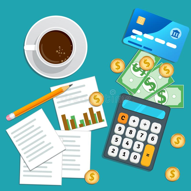 Financial audit, accounting concept. Business planning. Tax report, market data analysis, marketing research. stock illustration