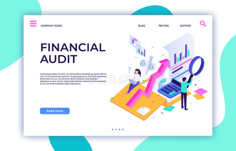 Financial audit landing page. Tax management, business consultant service and finance accounting isometric vector royalty free illustration