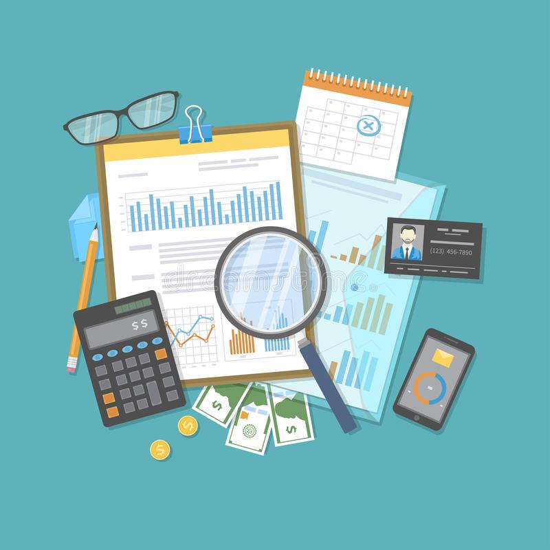 Financial audit, report, analysis. Business research, planning accounting, tax calculation. Magnifying glass over documents. Calculator. Forms with graphs stock illustration