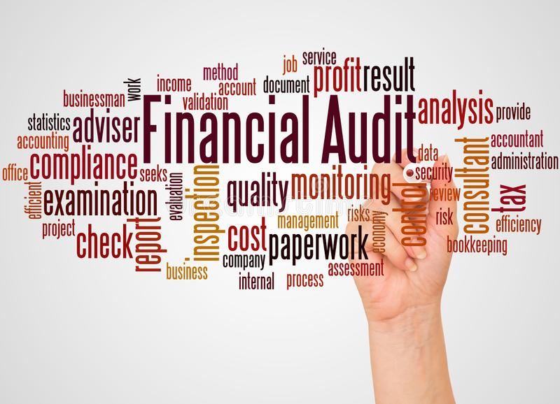 Financial audit word cloud and hand with marker concept. On white background stock photo