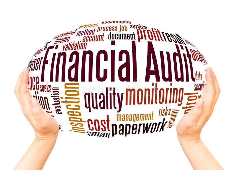 Financial audit word cloud hand sphere concept. On white background royalty free stock photos