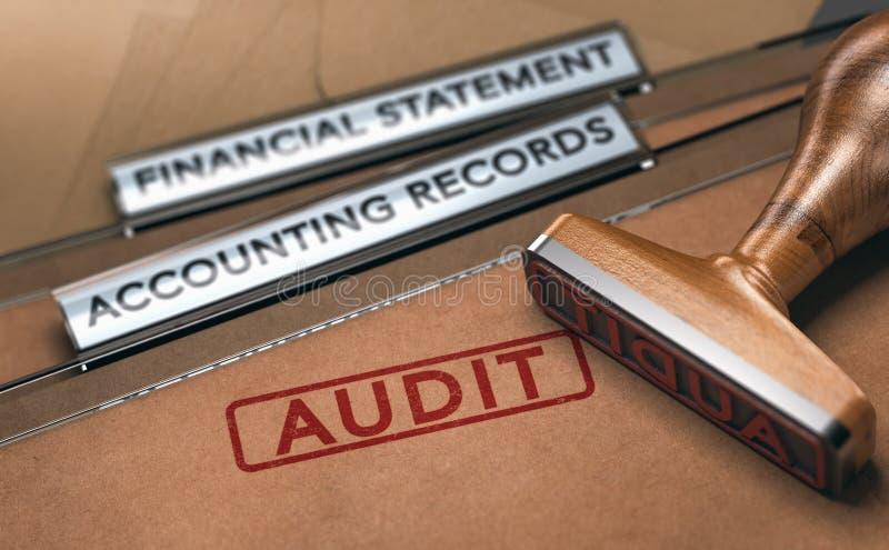 Financial Auditing. Examining Company Accounting Records vector illustration