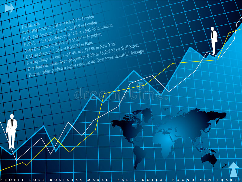 Financial background. An abstract financial background in blue showing a graph for shares
