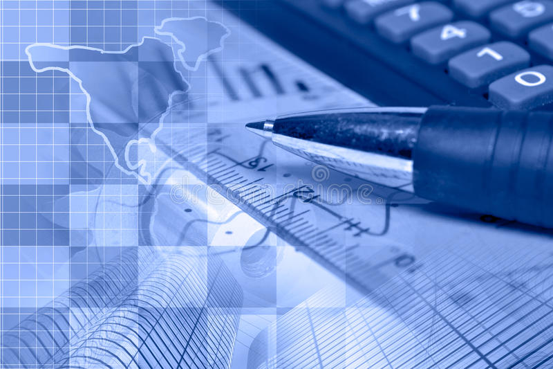 Financial background. In blues with map, calculator, graph and pen stock images