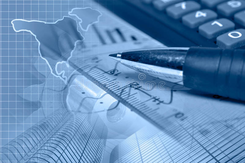 Financial background. In blues with map, calculator, graph and pen stock photography