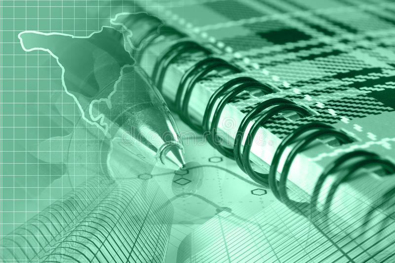 Financial background. In greens with map, graph, buildings and pen royalty free stock photos