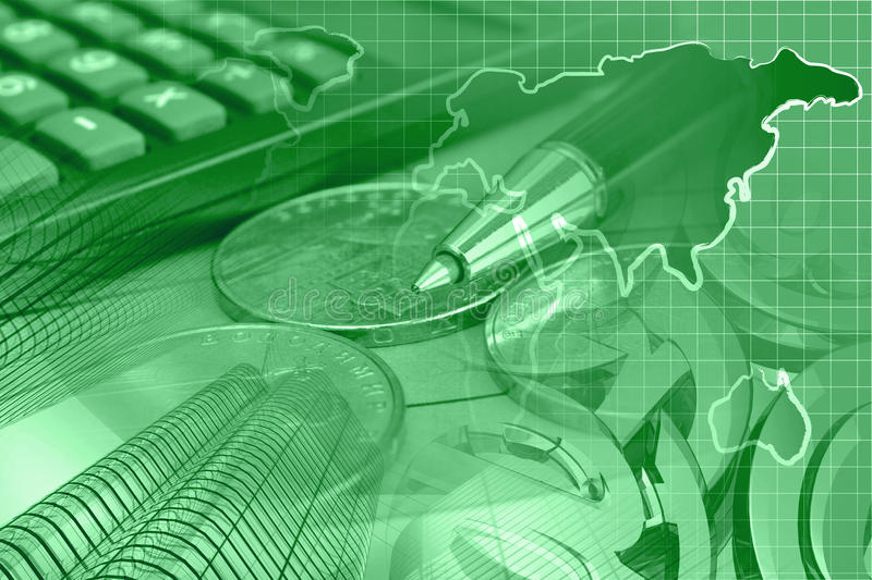 Financial background. In greens with money, calculator, map and pen royalty free stock photos