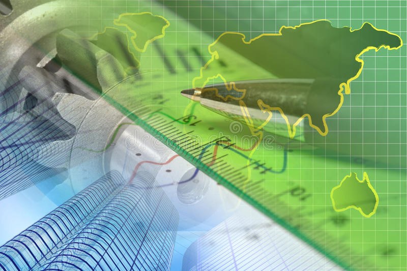 Financial background. With map, buildings, graph and pen stock photos