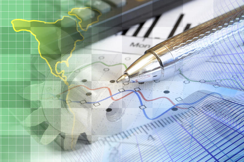 Financial background. With map, calculator, graph and pen stock image