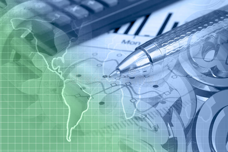 Financial background. With map, calculator, graph and pen, in greens and blues stock photo
